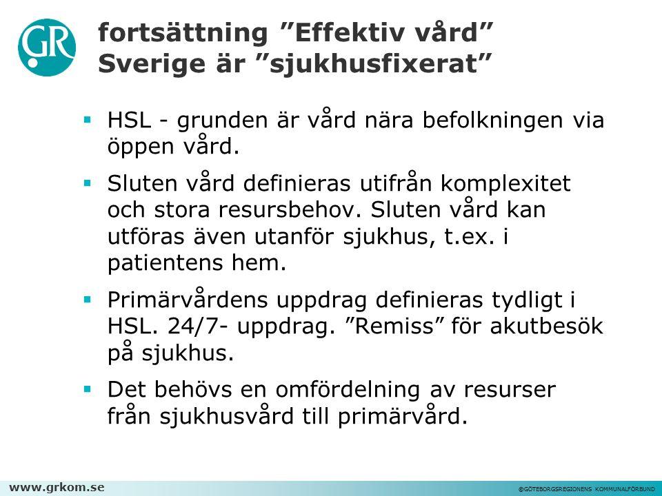 """www.grkom.se ©GÖTEBORGSREGIONENS KOMMUNALFÖRBUND fortsättning """"Effektiv vård"""" Sverige är """"sjukhusfixerat""""  HSL - grunden är vård nära befolkningen vi"""