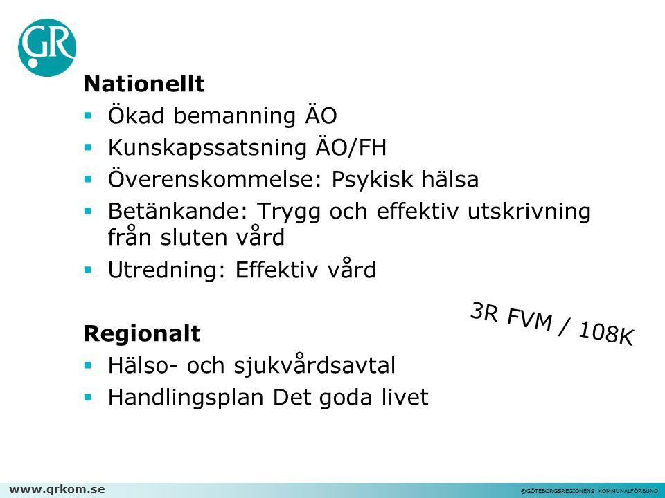 www.grkom.se ©GÖTEBORGSREGIONENS KOMMUNALFÖRBUND Nationellt  Ökad bemanning ÄO  Kunskapssatsning ÄO/FH  Överenskommelse: Psykisk hälsa  Betänkande
