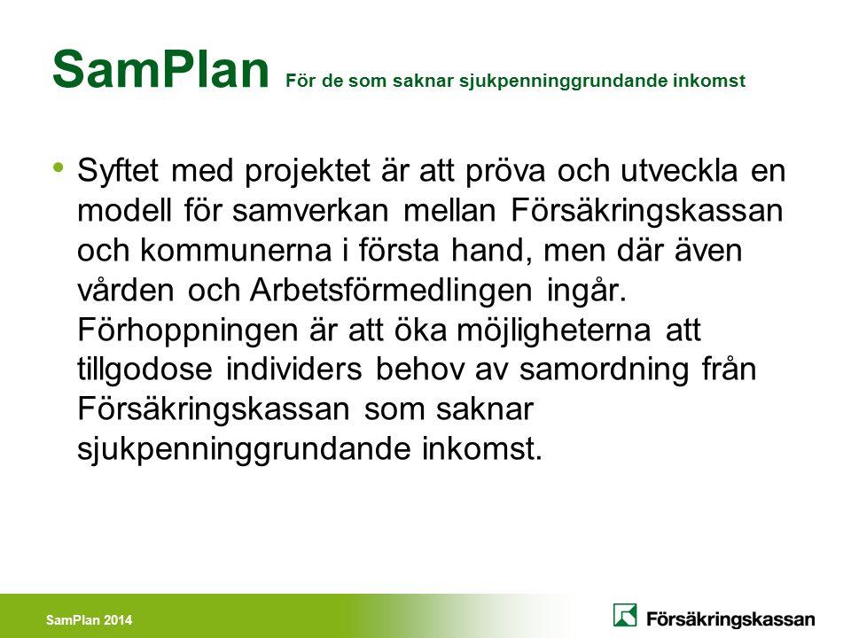 SamPlan 2014 SamPlan För de som saknar sjukpenninggrundande inkomst Syftet med projektet är att pröva och utveckla en modell för samverkan mellan Förs