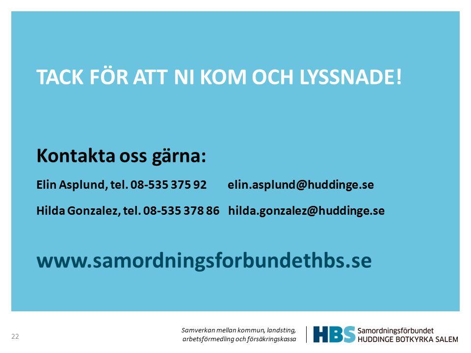 Samverkan mellan kommun, landsting, arbetsförmedling och försäkringskassa TACK FÖR ATT NI KOM OCH LYSSNADE! Kontakta oss gärna: Elin Asplund, tel. 08-
