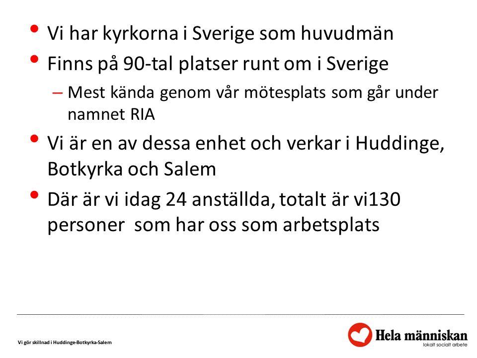 Vi gör skillnad i Huddinge-Botkyrka-Salem Vi har kyrkorna i Sverige som huvudmän Finns på 90-tal platser runt om i Sverige – Mest kända genom vår möte