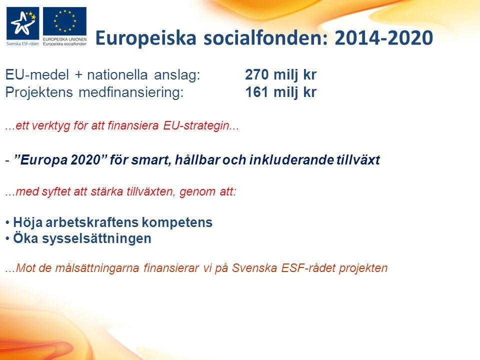 Europeiska socialfonden: 2014-2020 EU-medel + nationella anslag:270 milj kr Projektens medfinansiering:161 milj kr...ett verktyg för att finansiera EU-strategin...