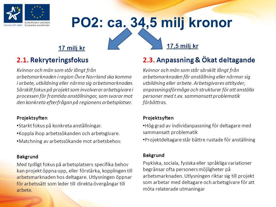 PO2: ca. 34,5 milj kronor 2.1.
