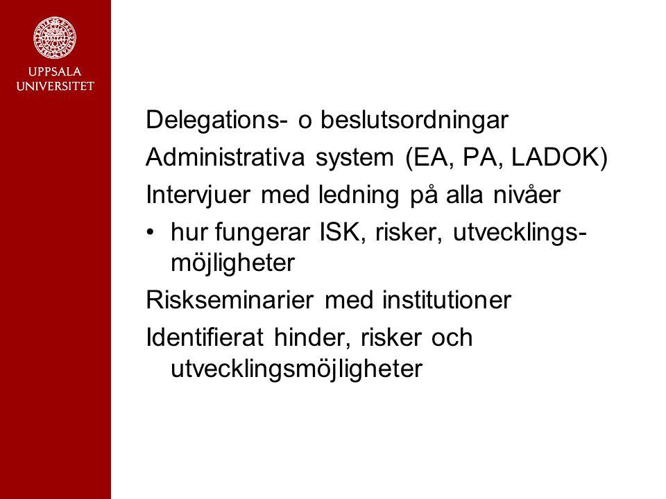 Delegations- o beslutsordningar Administrativa system (EA, PA, LADOK) Intervjuer med ledning på alla nivåer hur fungerar ISK, risker, utvecklings- möj