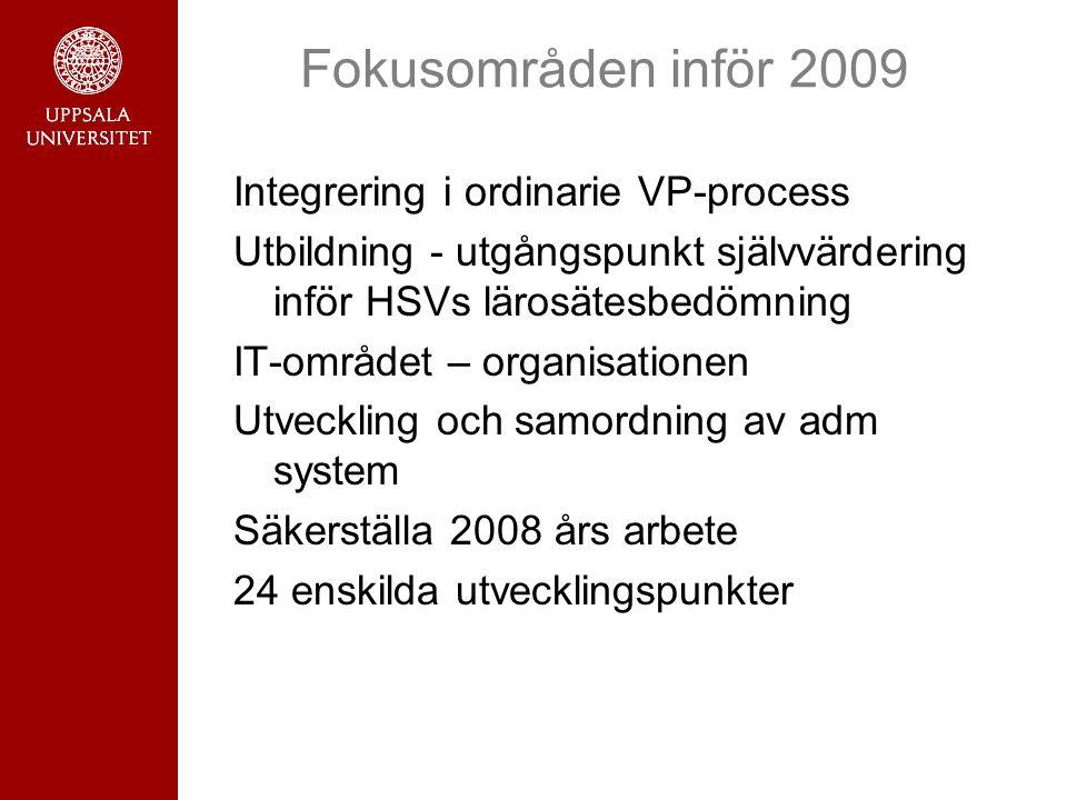 Fokusområden inför 2009 Integrering i ordinarie VP-process Utbildning - utgångspunkt självvärdering inför HSVs lärosätesbedömning IT-området – organis