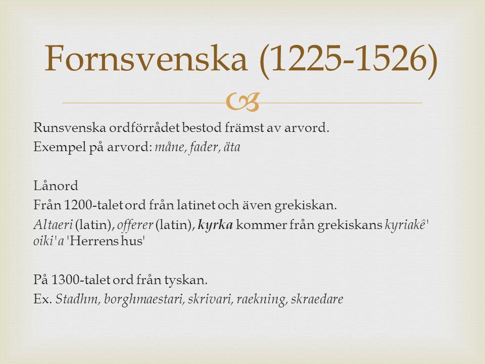  Runsvenska ordförrådet bestod främst av arvord.