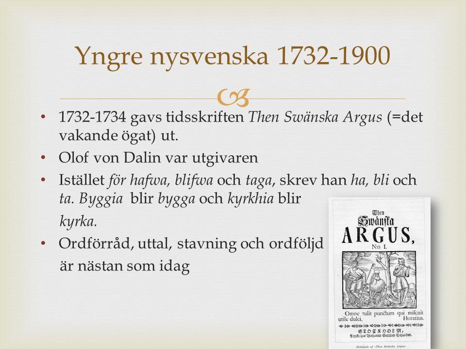  1732-1734 gavs tidsskriften Then Swänska Argus (=det vakande ögat) ut.