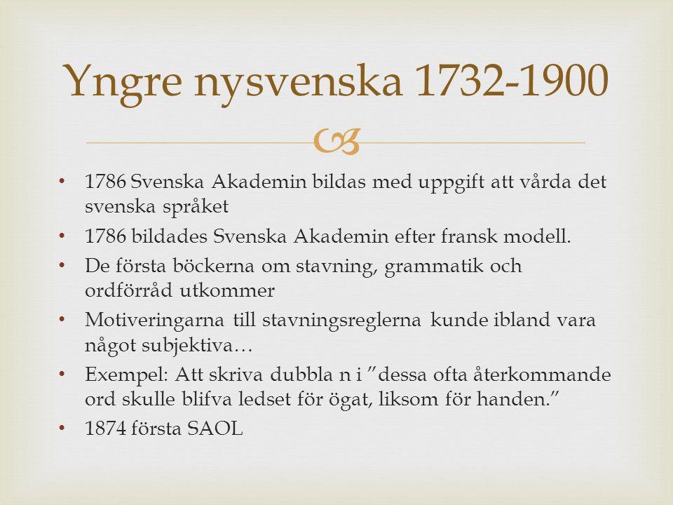  1786 Svenska Akademin bildas med uppgift att vårda det svenska språket 1786 bildades Svenska Akademin efter fransk modell.