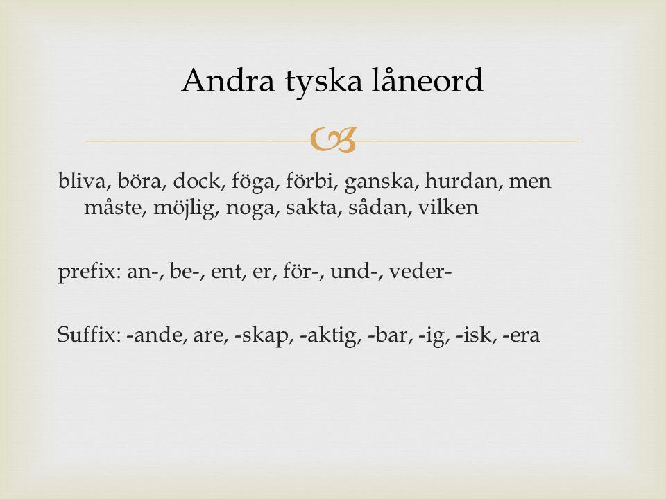 bliva, böra, dock, föga, förbi, ganska, hurdan, men måste, möjlig, noga, sakta, sådan, vilken prefix: an-, be-, ent, er, för-, und-, veder- Suffix: -ande, are, -skap, -aktig, -bar, -ig, -isk, -era Andra tyska låneord