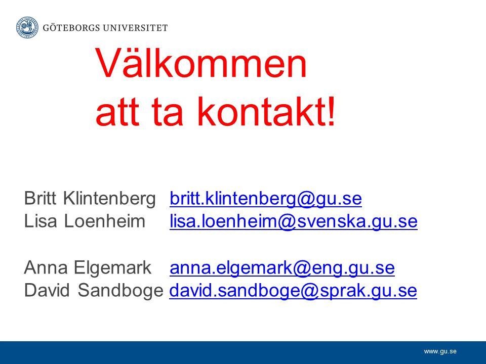 www.gu.se Välkommen att ta kontakt.