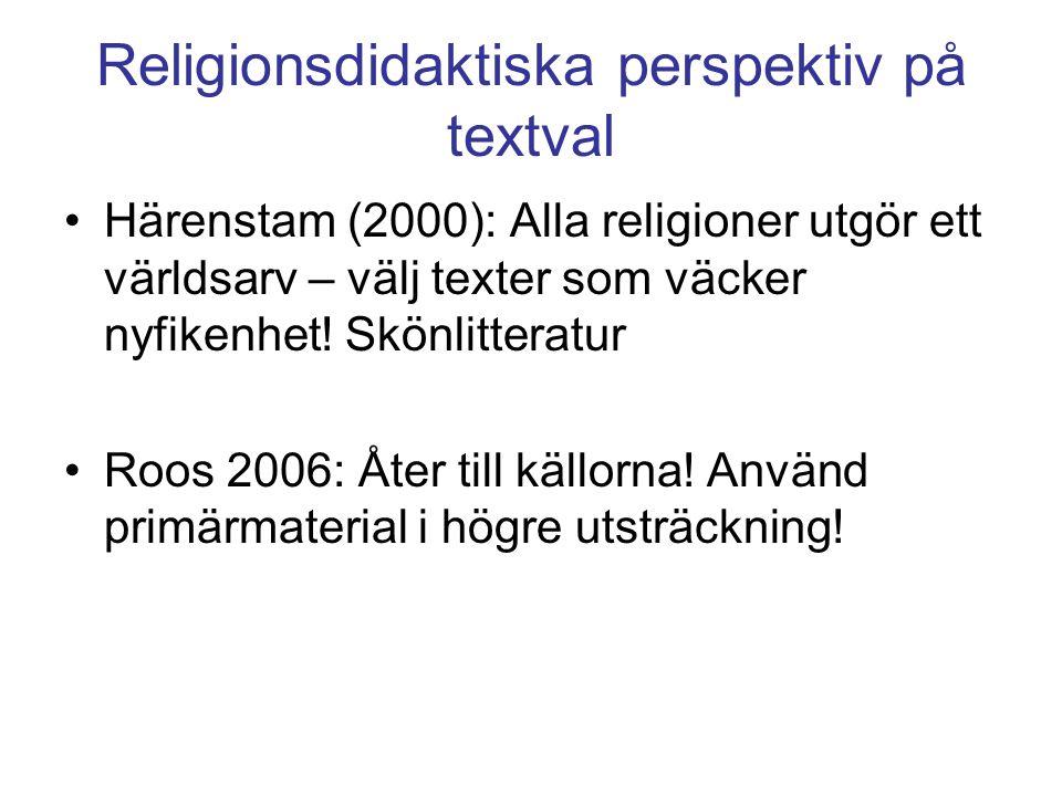 Religionsdidaktiska perspektiv på textval Härenstam (2000): Alla religioner utgör ett världsarv – välj texter som väcker nyfikenhet.