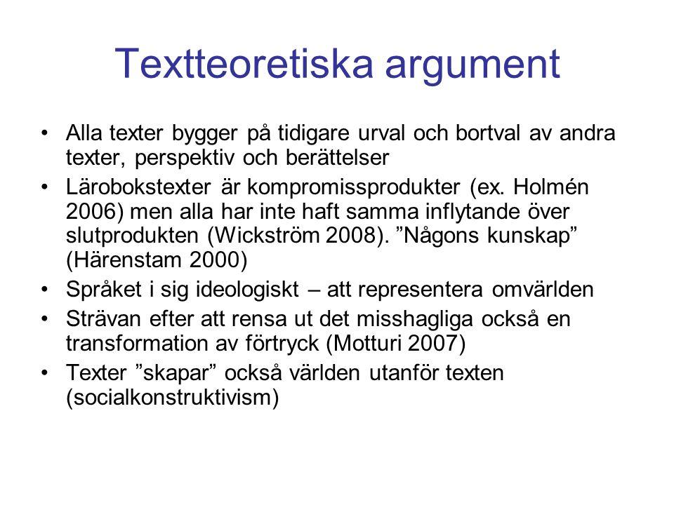 Textteoretiska argument Alla texter bygger på tidigare urval och bortval av andra texter, perspektiv och berättelser Lärobokstexter är kompromissprodukter (ex.