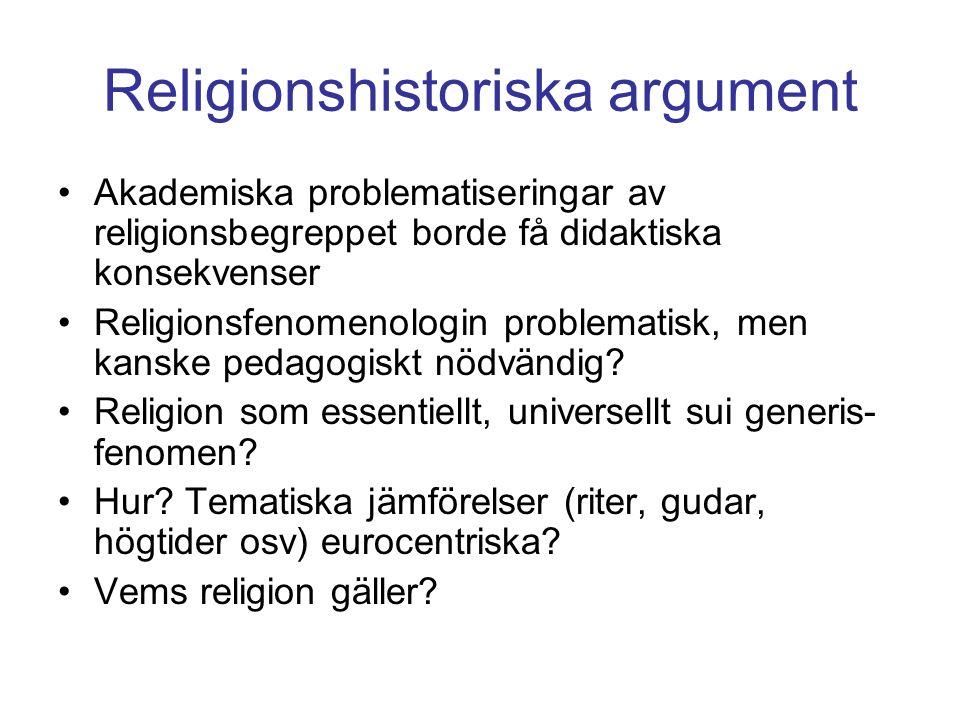 Religionshistoriska argument Akademiska problematiseringar av religionsbegreppet borde få didaktiska konsekvenser Religionsfenomenologin problematisk, men kanske pedagogiskt nödvändig.