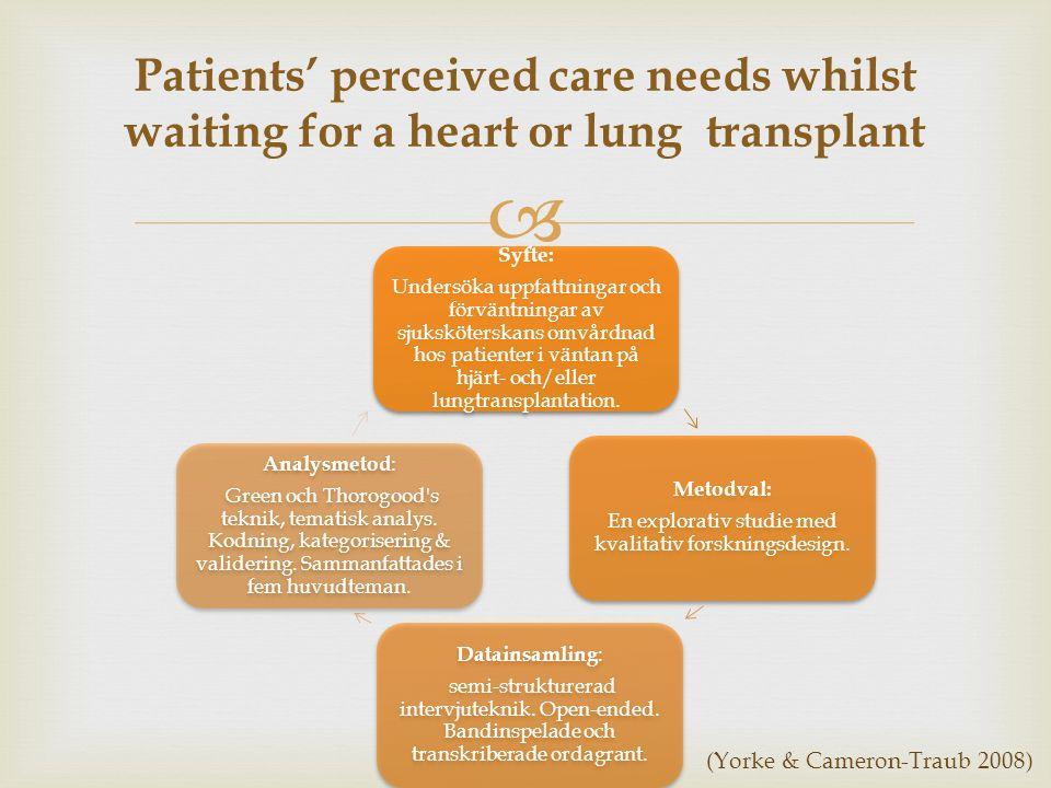  Patients' perceived care needs whilst waiting for a heart or lung transplant Syfte: Undersöka uppfattningar och förväntningar av sjuksköterskans omvårdnad hos patienter i väntan på hjärt- och/eller lungtransplantation.
