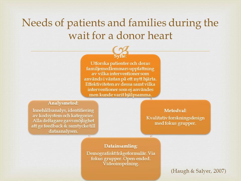  Syfte : Utforska patienter och deras familjemedlemmars uppfattning av vilka interventioner som används i väntan på ett nytt hjärta. Effektiviteten a