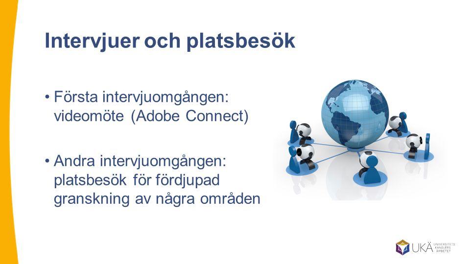 Intervjuer och platsbesök Första intervjuomgången: videomöte (Adobe Connect) Andra intervjuomgången: platsbesök för fördjupad granskning av några områ