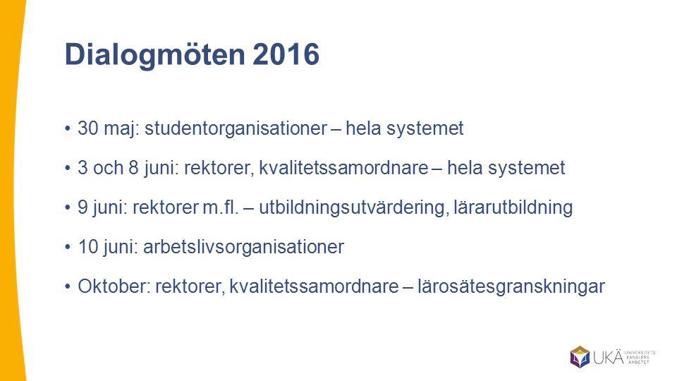 Dialogmöten 2016 30 maj: studentorganisationer – hela systemet 3 och 8 juni: rektorer, kvalitetssamordnare – hela systemet 9 juni: rektorer m.fl. – ut