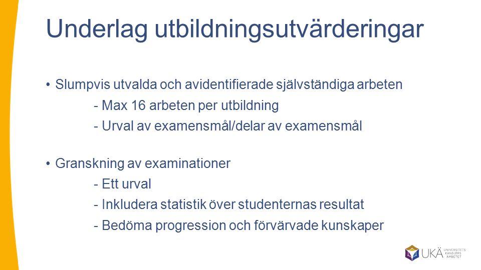 Underlag utbildningsutvärderingar Slumpvis utvalda och avidentifierade självständiga arbeten - Max 16 arbeten per utbildning - Urval av examensmål/del