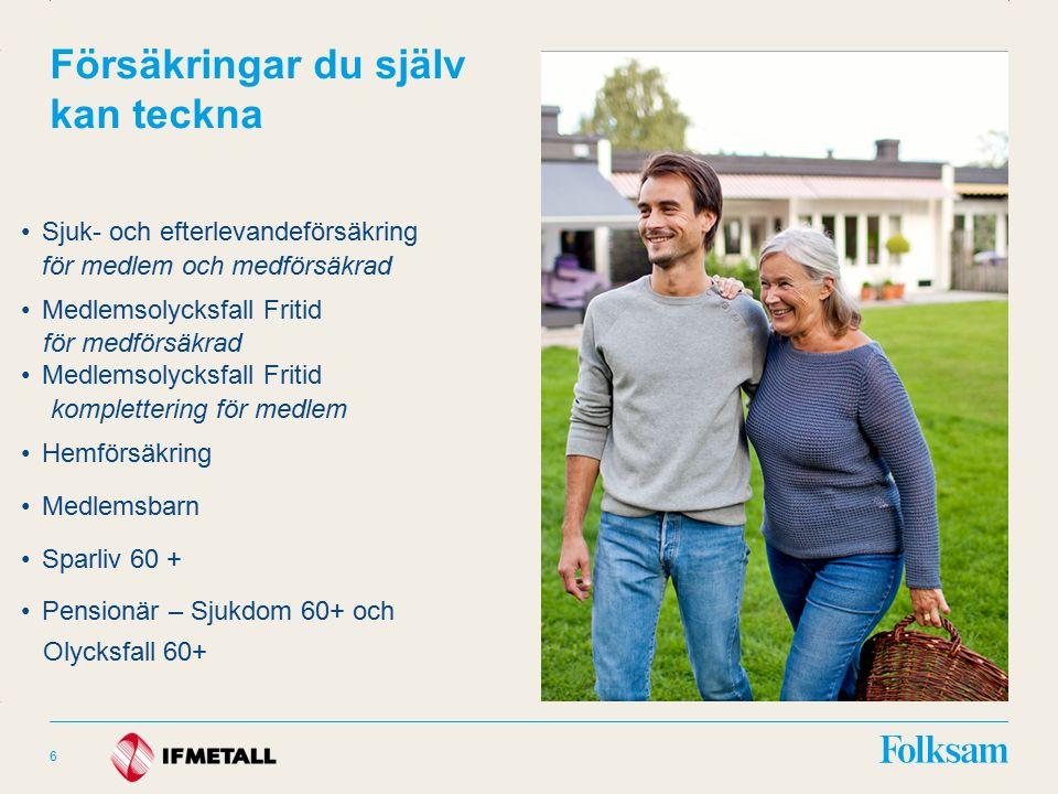 Innehållsyta Rubrikyta Försäkringar du själv kan teckna Sjuk- och efterlevandeförsäkring för medlem och medförsäkrad Medlemsolycksfall Fritid för medförsäkrad Medlemsolycksfall Fritid komplettering för medlem Hemförsäkring Medlemsbarn Sparliv 60 + Pensionär – Sjukdom 60+ och Olycksfall 60+ 6