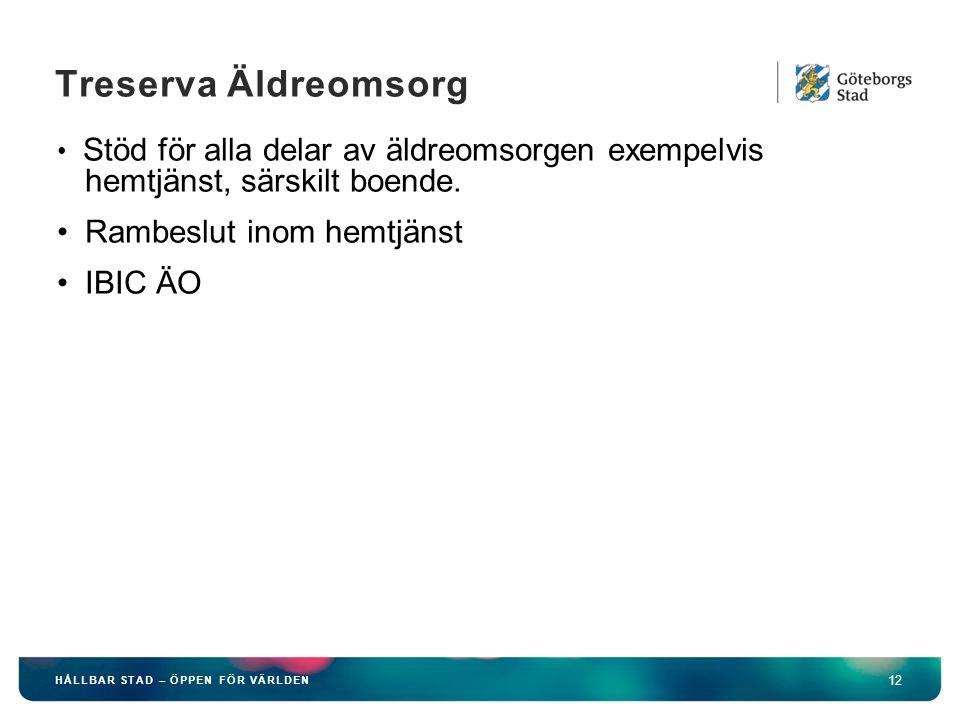 HÅLLBAR STAD – ÖPPEN FÖR VÄRLDEN 12 Treserva Äldreomsorg Stöd för alla delar av äldreomsorgen exempelvis hemtjänst, särskilt boende.