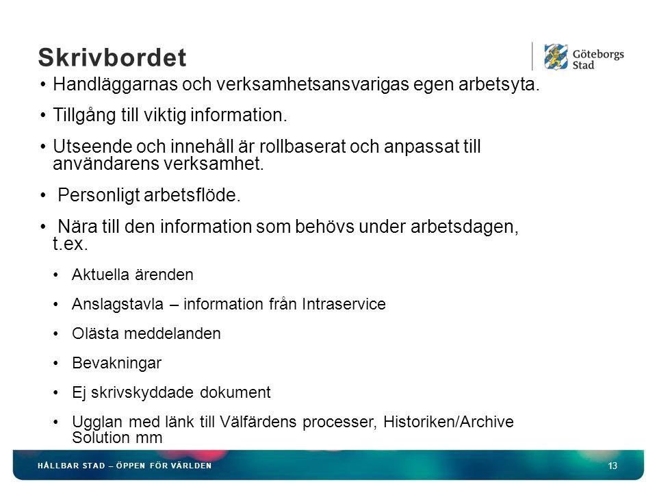 HÅLLBAR STAD – ÖPPEN FÖR VÄRLDEN 13 Skrivbordet Handläggarnas och verksamhetsansvarigas egen arbetsyta. Tillgång till viktig information. Utseende och
