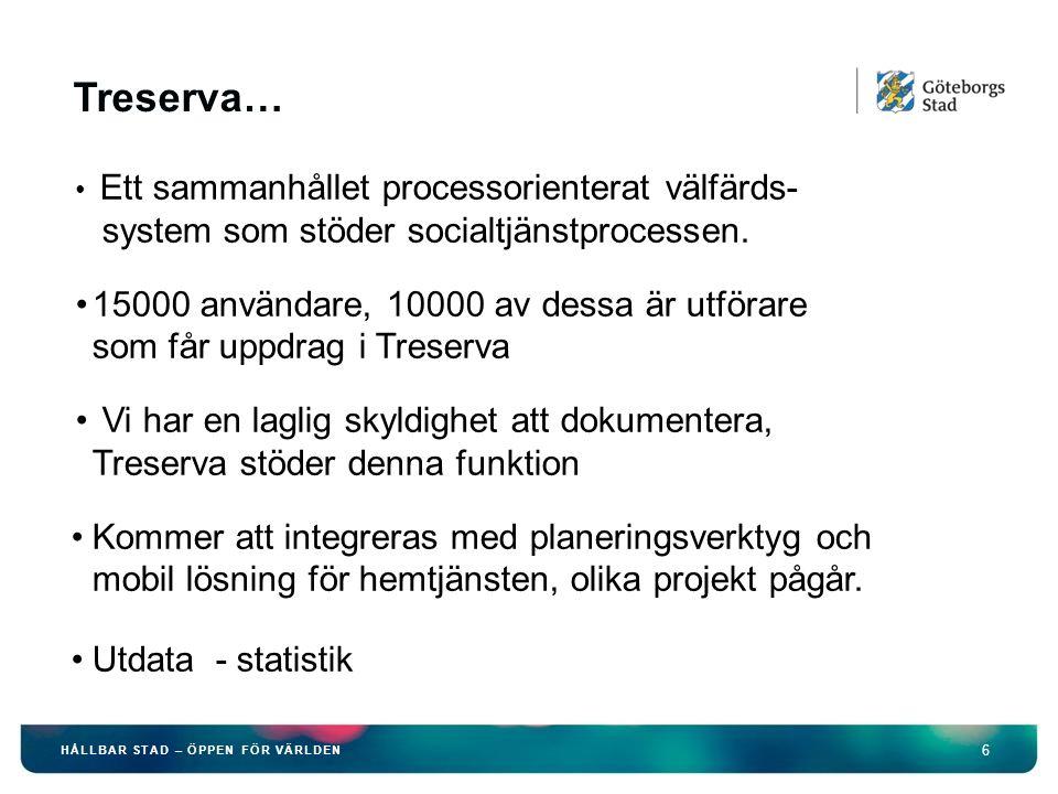 6 HÅLLBAR STAD – ÖPPEN FÖR VÄRLDEN Treserva… Ett sammanhållet processorienterat välfärds- system som stöder socialtjänstprocessen. 15000 användare, 10