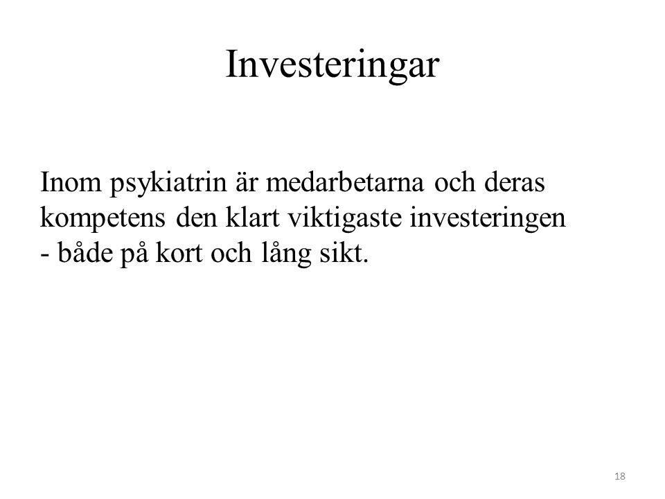 Investeringar Inom psykiatrin är medarbetarna och deras kompetens den klart viktigaste investeringen - både på kort och lång sikt. 18