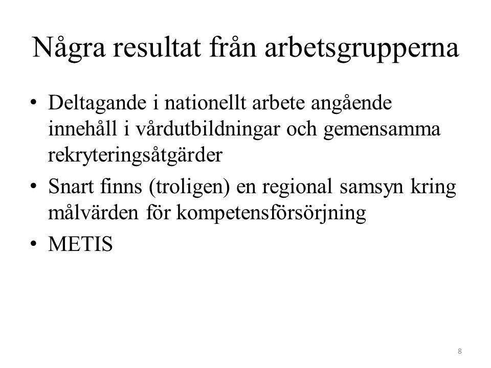 Några resultat från arbetsgrupperna Deltagande i nationellt arbete angående innehåll i vårdutbildningar och gemensamma rekryteringsåtgärder Snart finns (troligen) en regional samsyn kring målvärden för kompetensförsörjning METIS 8