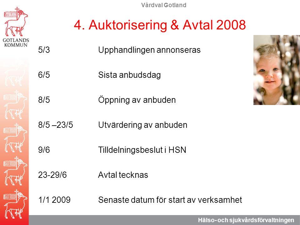 Vårdval Gotland Hälso- och sjukvårdsförvaltningen 4. Auktorisering & Avtal 2008 5/3Upphandlingen annonseras 6/5Sista anbudsdag 8/5Öppning av anbuden 8