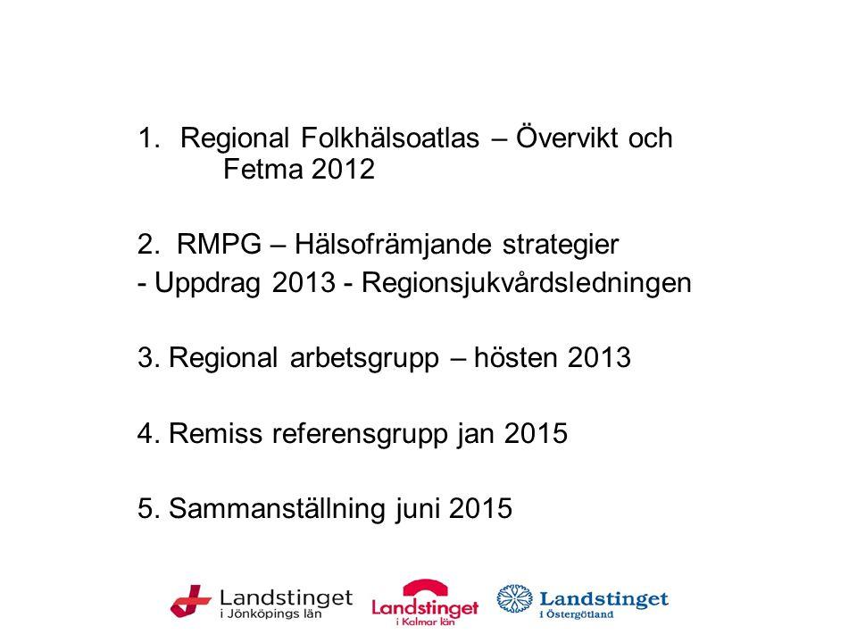 1.Regional Folkhälsoatlas – Övervikt och Fetma 2012 2. RMPG – Hälsofrämjande strategier - Uppdrag 2013 - Regionsjukvårdsledningen 3. Regional arbetsgr