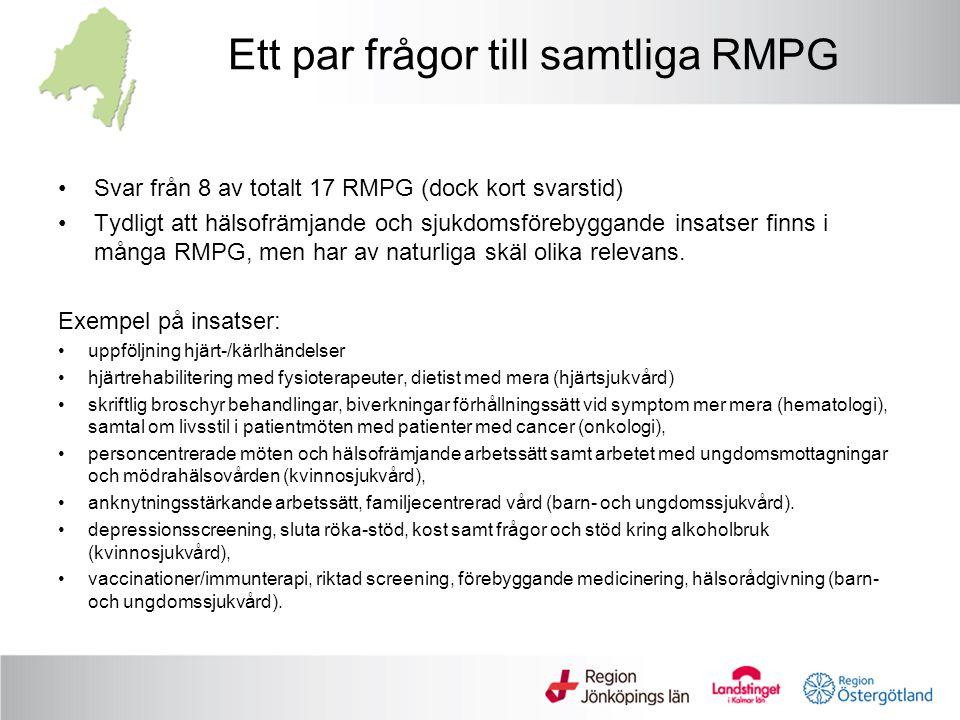 Ett par frågor till samtliga RMPG Svar från 8 av totalt 17 RMPG (dock kort svarstid) Tydligt att hälsofrämjande och sjukdomsförebyggande insatser finns i många RMPG, men har av naturliga skäl olika relevans.