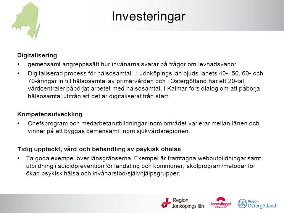 Investeringar Digitalisering gemensamt angreppssätt hur invånarna svarar på frågor om levnadsvanor Digitaliserad process för hälsosamtal.