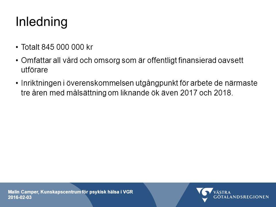 Malin Camper, Kunskapscentrum för psykisk hälsa i VGR 2016-02-03 Inledning Totalt 845 000 000 kr Omfattar all vård och omsorg som är offentligt finansierad oavsett utförare Inriktningen i överenskommelsen utgångpunkt för arbete de närmaste tre åren med målsättning om liknande ök även 2017 och 2018.