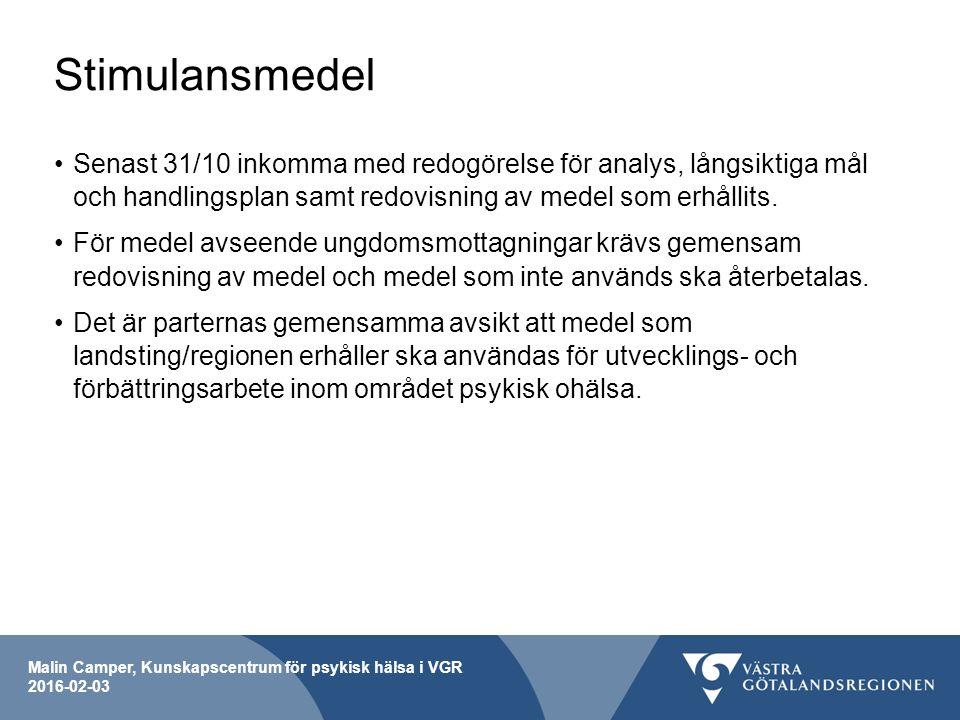 Malin Camper, Kunskapscentrum för psykisk hälsa i VGR 2016-02-03 Stimulansmedel Senast 31/10 inkomma med redogörelse för analys, långsiktiga mål och handlingsplan samt redovisning av medel som erhållits.
