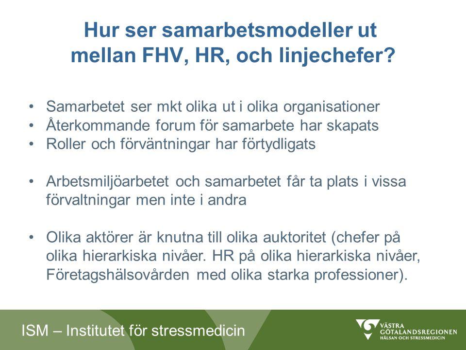 ISM – Institutet för stressmedicin Hur ser samarbetsmodeller ut mellan FHV, HR, och linjechefer.