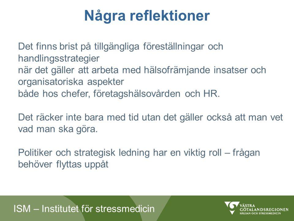 ISM – Institutet för stressmedicin Några reflektioner Det finns brist på tillgängliga föreställningar och handlingsstrategier när det gäller att arbeta med hälsofrämjande insatser och organisatoriska aspekter både hos chefer, företagshälsovården och HR.
