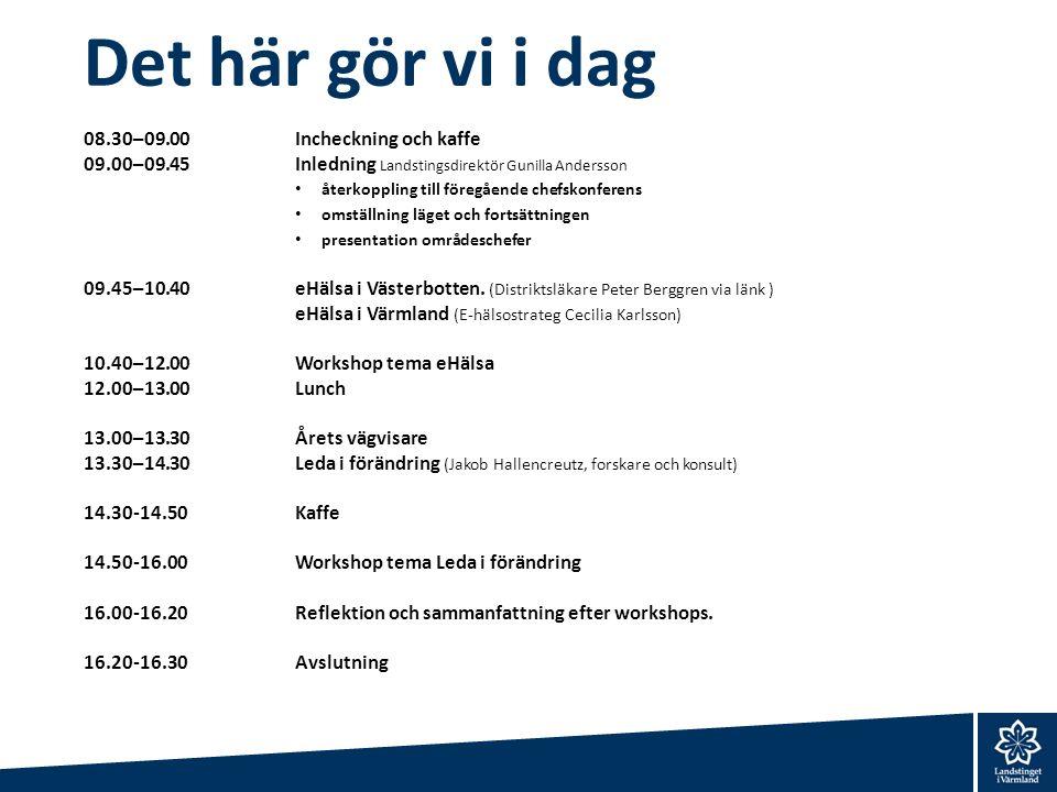 Det här gör vi i dag 08.30–09.00Incheckning och kaffe 09.00–09.45Inledning Landstingsdirektör Gunilla Andersson återkoppling till föregående chefskonf