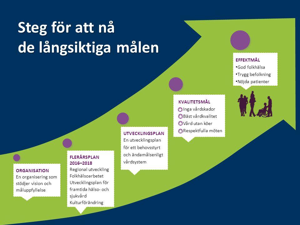 Pil uppåt Steg för att nå de långsiktiga målen ORGANISATION En organisering som stödjer vision och måluppfyllelse FLERÅRSPLAN 2016–2018 Regional utvec