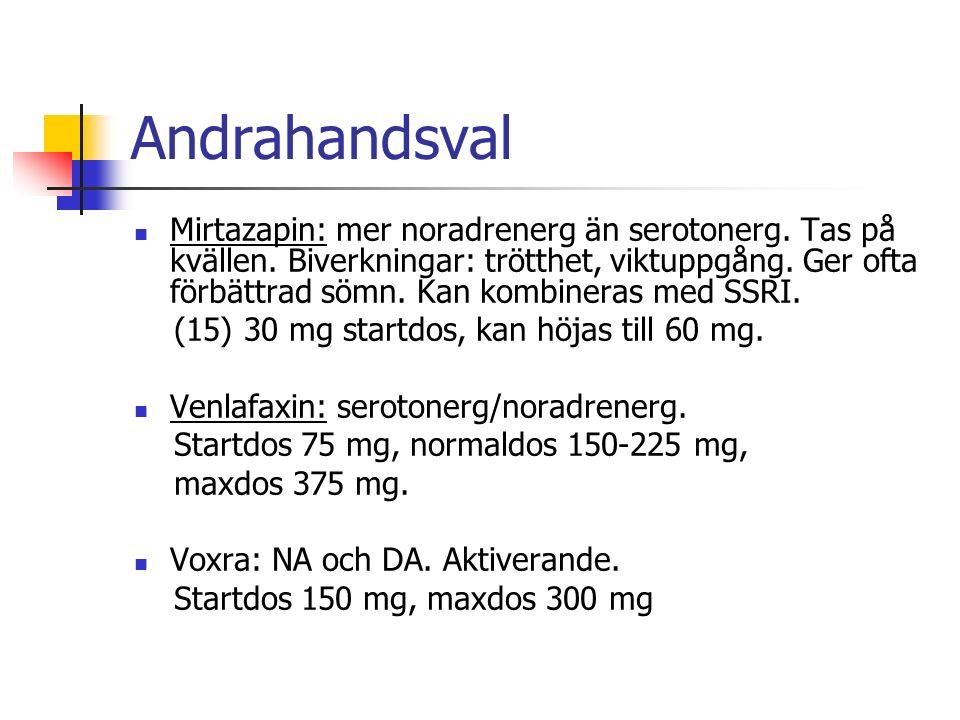 Andrahandsval Mirtazapin: mer noradrenerg än serotonerg.