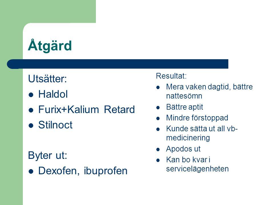 Åtgärd Utsätter: Haldol Furix+Kalium Retard Stilnoct Byter ut: Dexofen, ibuprofen Resultat: Mera vaken dagtid, bättre nattesömn Bättre aptit Mindre fö