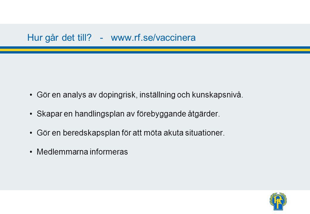 Hur går det till? - www.rf.se/vaccinera Gör en analys av dopingrisk, inställning och kunskapsnivå. Skapar en handlingsplan av förebyggande åtgärder. G
