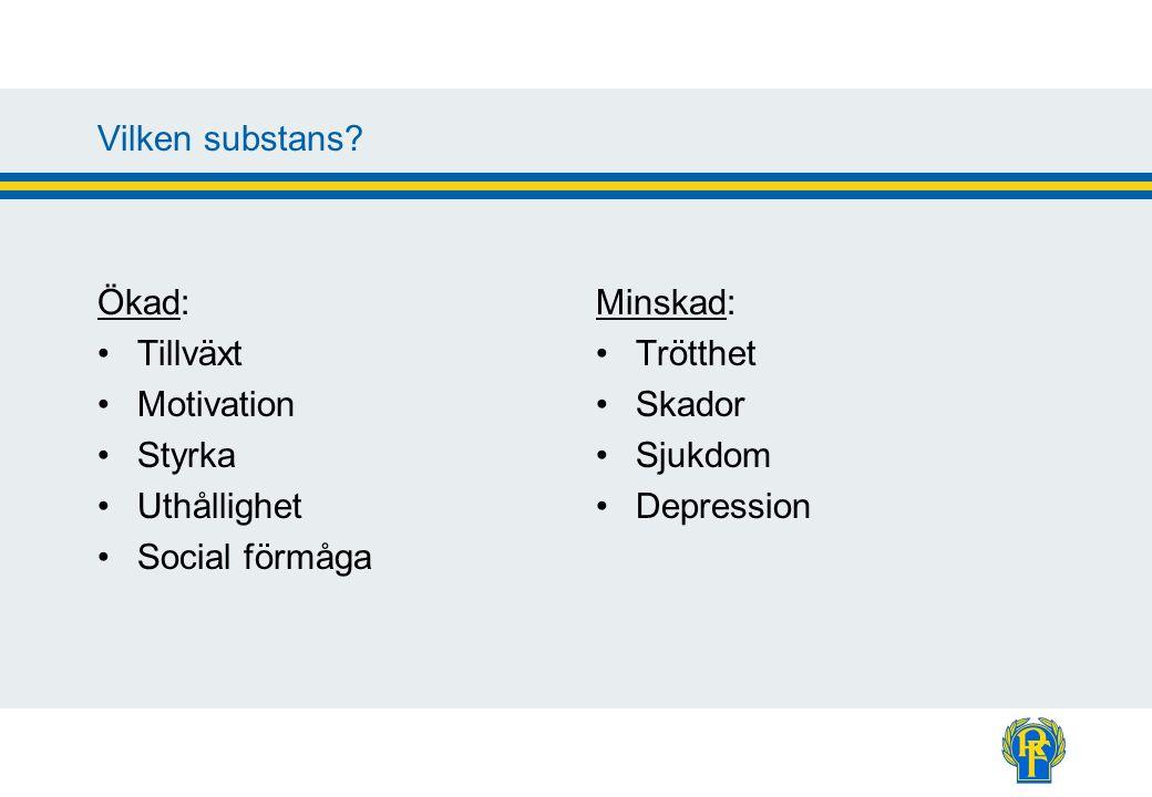 Vilken substans? Ökad: Tillväxt Motivation Styrka Uthållighet Social förmåga Minskad: Trötthet Skador Sjukdom Depression