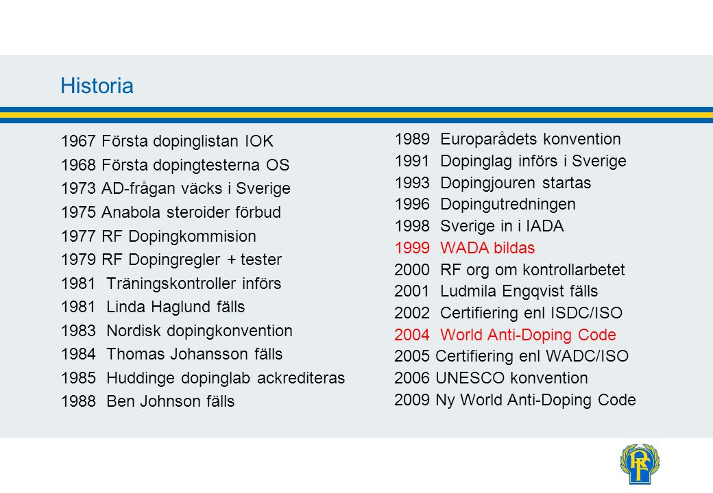Historia 1967 Första dopinglistan IOK 1968 Första dopingtesterna OS 1973 AD-frågan väcks i Sverige 1975 Anabola steroider förbud 1977 RF Dopingkommisi