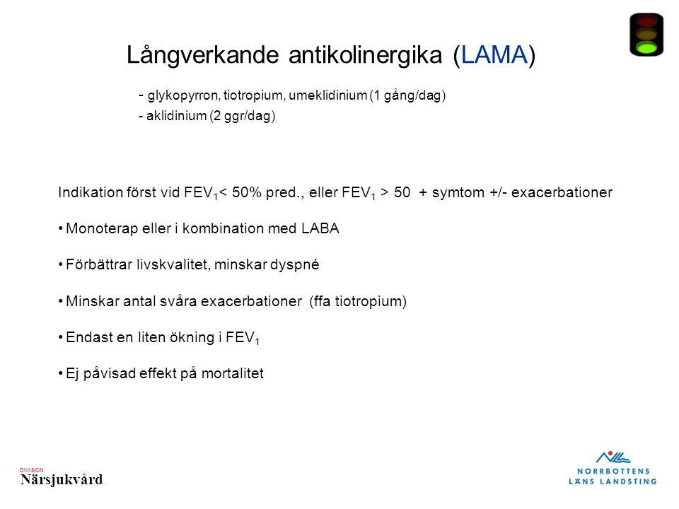DIVISION Närsjukvård Långverkande antikolinergika (LAMA) - glykopyrron, tiotropium, umeklidinium (1 gång/dag) - aklidinium (2 ggr/dag) Indikation först vid FEV 1 50 + symtom +/- exacerbationer Monoterap eller i kombination med LABA Förbättrar livskvalitet, minskar dyspné Minskar antal svåra exacerbationer (ffa tiotropium) Endast en liten ökning i FEV 1 Ej påvisad effekt på mortalitet
