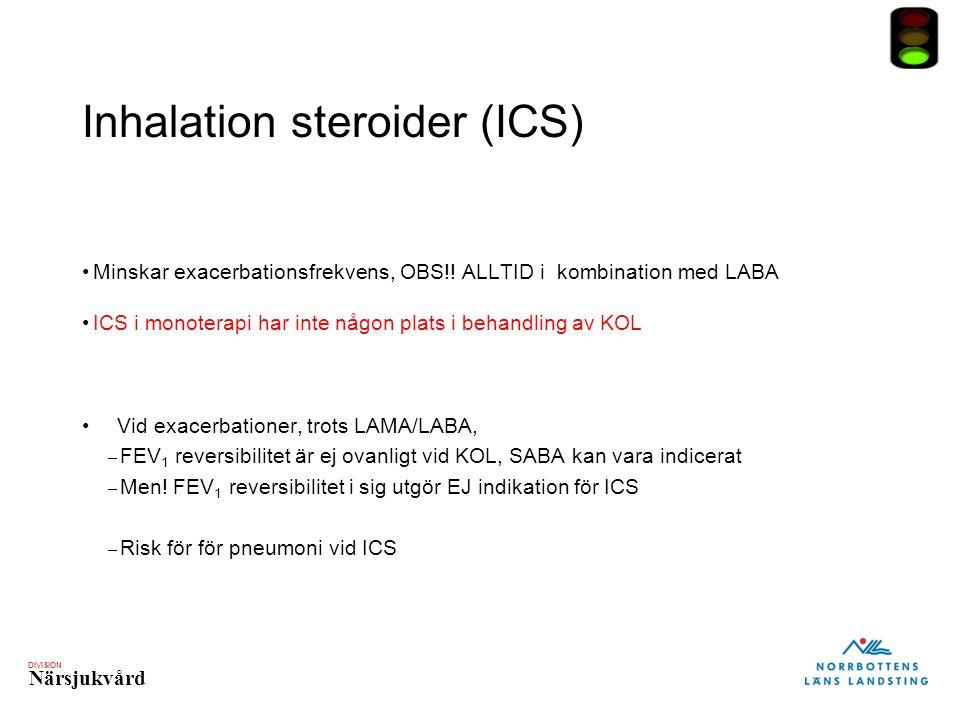 DIVISION Närsjukvård Inhalation steroider (ICS) Minskar exacerbationsfrekvens, OBS!! ALLTID i kombination med LABA ICS i monoterapi har inte någon pla