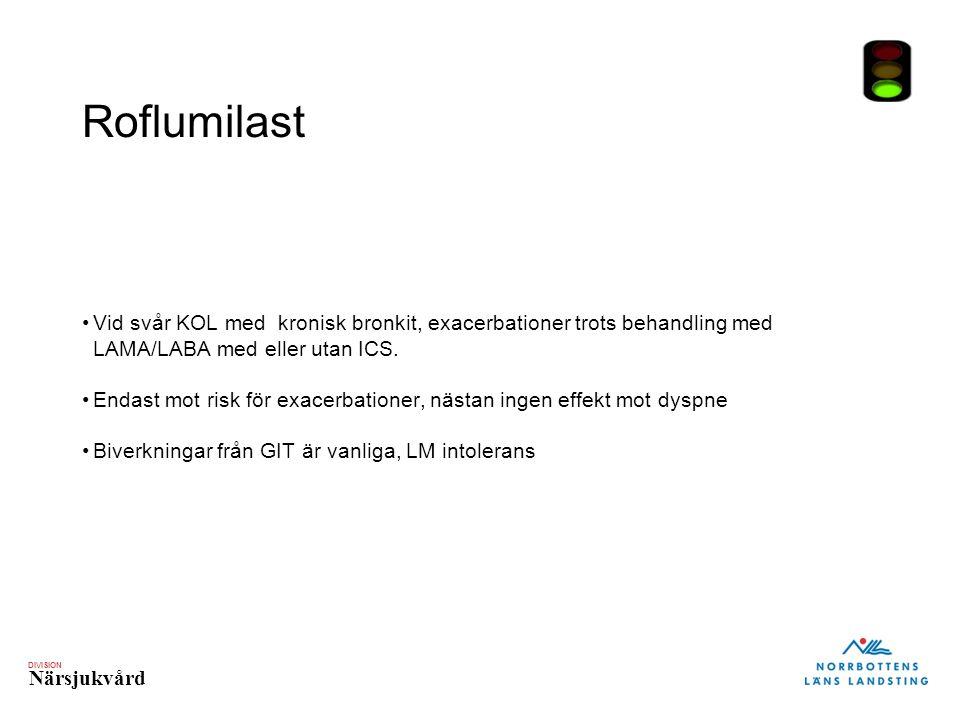 DIVISION Närsjukvård Roflumilast Vid svår KOL med kronisk bronkit, exacerbationer trots behandling med LAMA/LABA med eller utan ICS. Endast mot risk f