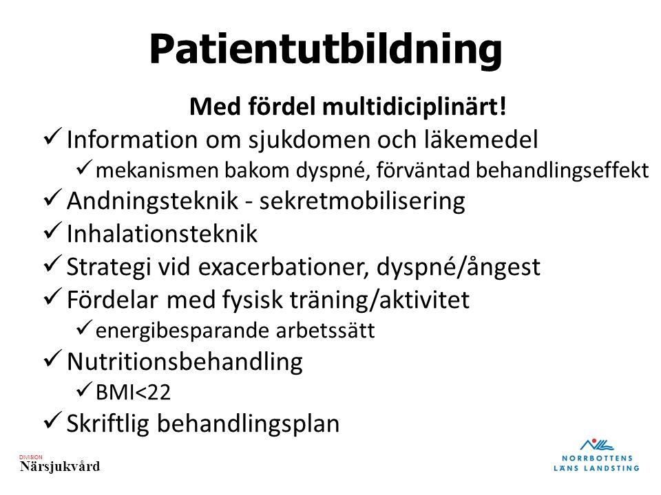 DIVISION Närsjukvård Patientutbildning Med fördel multidiciplinärt! Information om sjukdomen och läkemedel mekanismen bakom dyspné, förväntad behandli