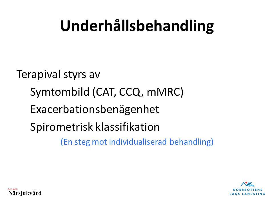 DIVISION Närsjukvård Underhållsbehandling Terapival styrs av Symtombild (CAT, CCQ, mMRC) Exacerbationsbenägenhet Spirometrisk klassifikation (En steg