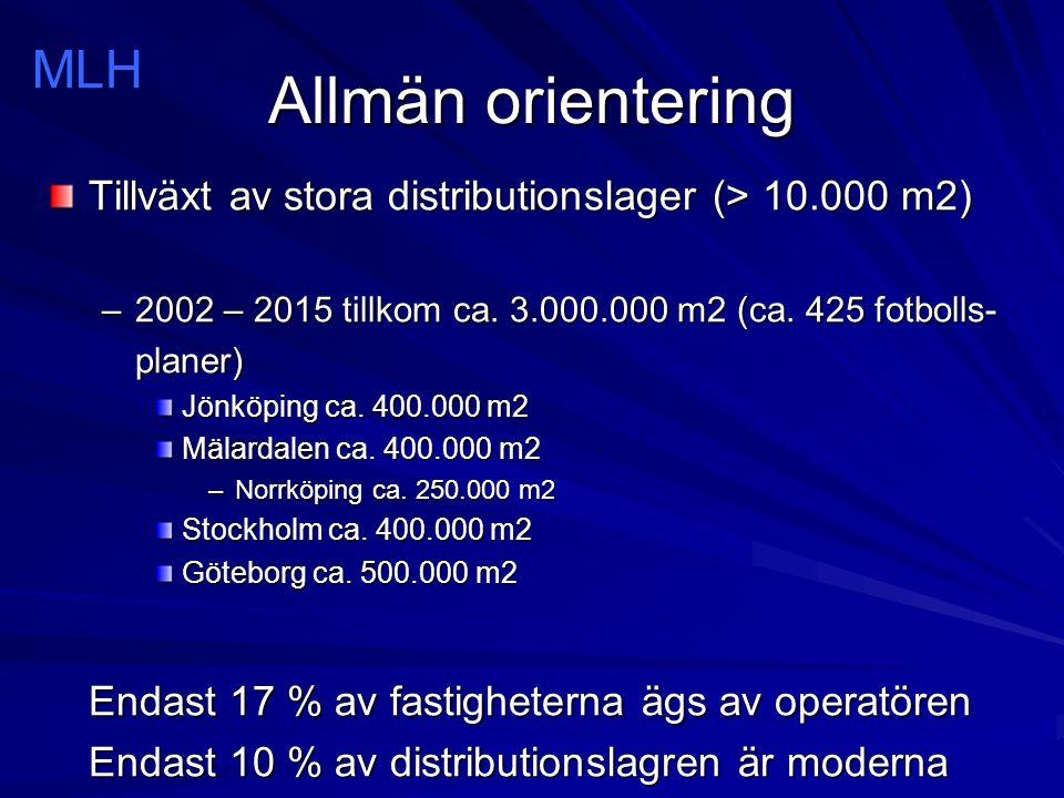 Allmän orientering Tillväxt av stora distributionslager (> 10.000 m2) –2002 – 2015 tillkom ca.