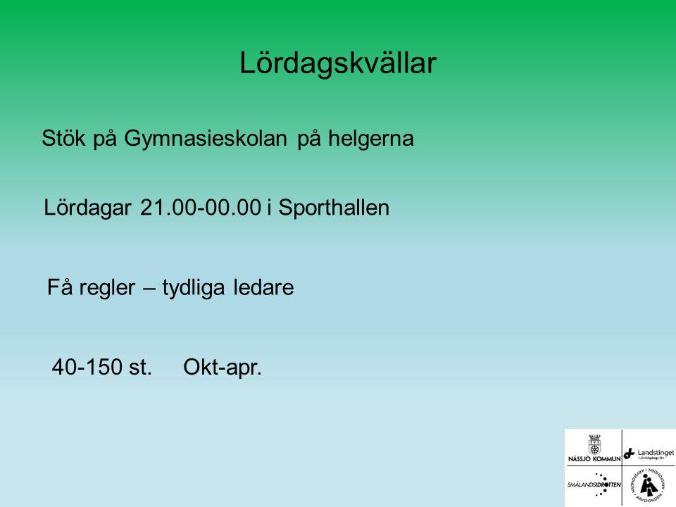 Lördagskvällar Stök på Gymnasieskolan på helgerna Lördagar 21.00-00.00 i Sporthallen 40-150 st.